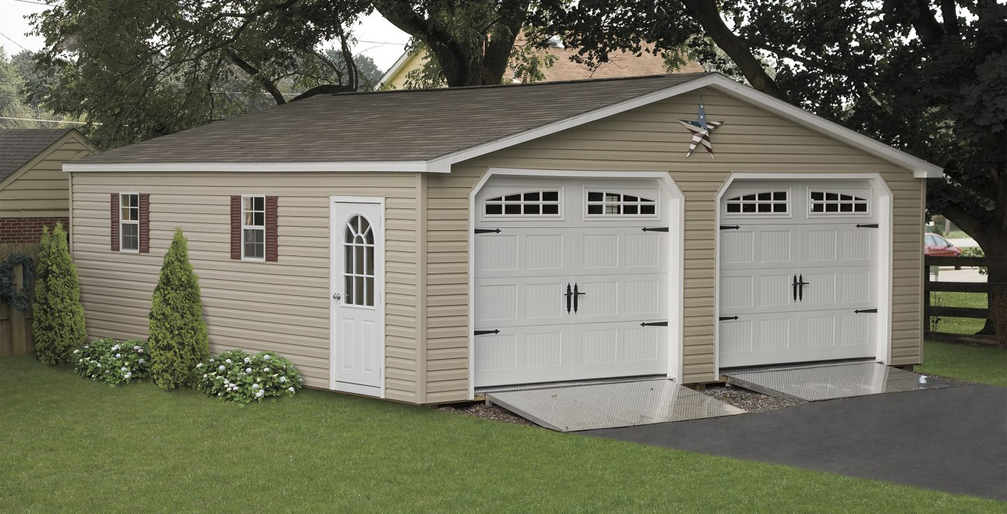Prefabricated 2 car garages amish made garage amish for How wide is a standard 2 car garage