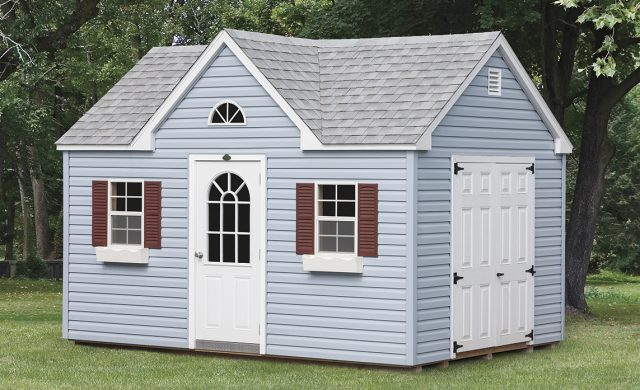 light blue vinyl Victorian cottage
