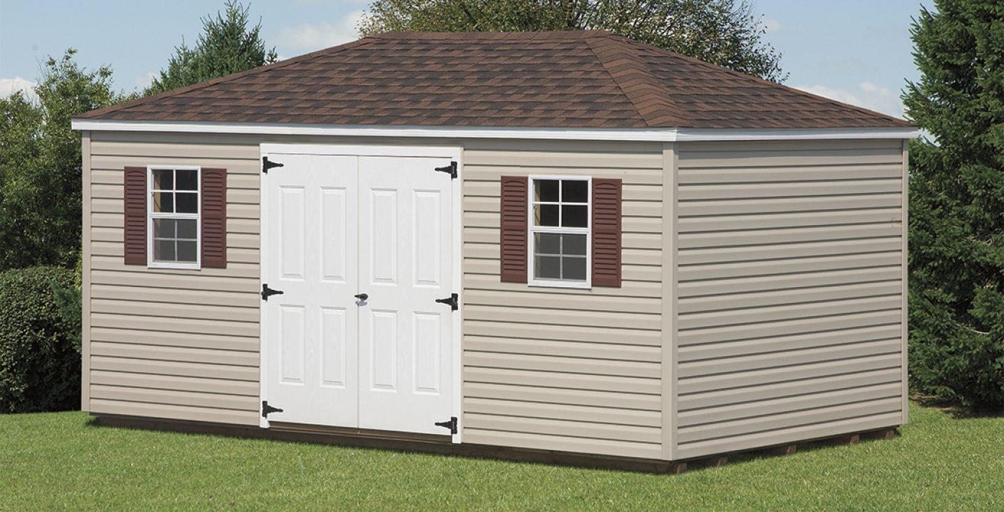 tan vinyl provincial outdoor shed