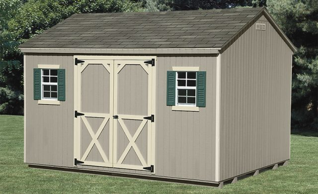 tan vinyl a frame custom shed