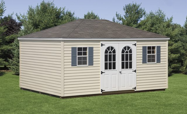 yellow vinyl two window outdoor shed