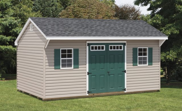 tan vinyl quaker shed with two windows