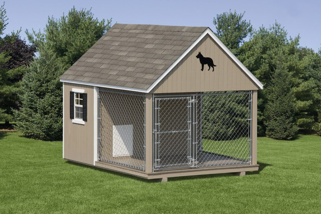 Dog Kennel – Wood - Dog Kennel - Wood Amish Backyard Structures