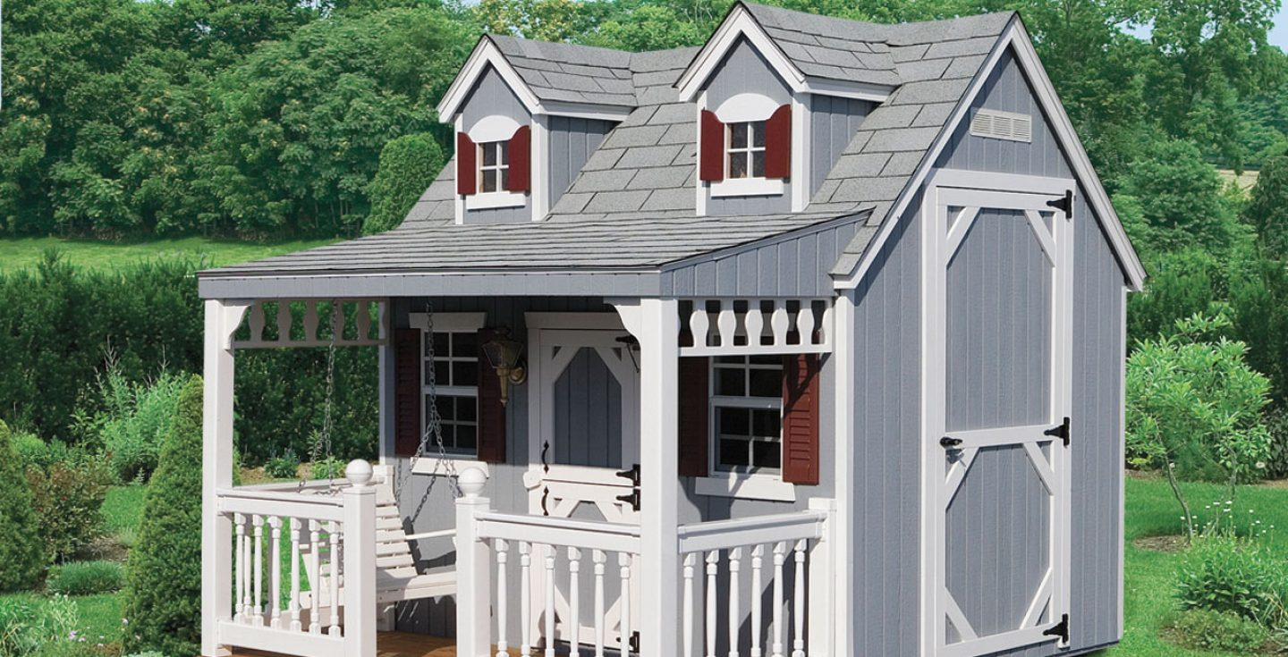 gray cape cod small kids playhouse