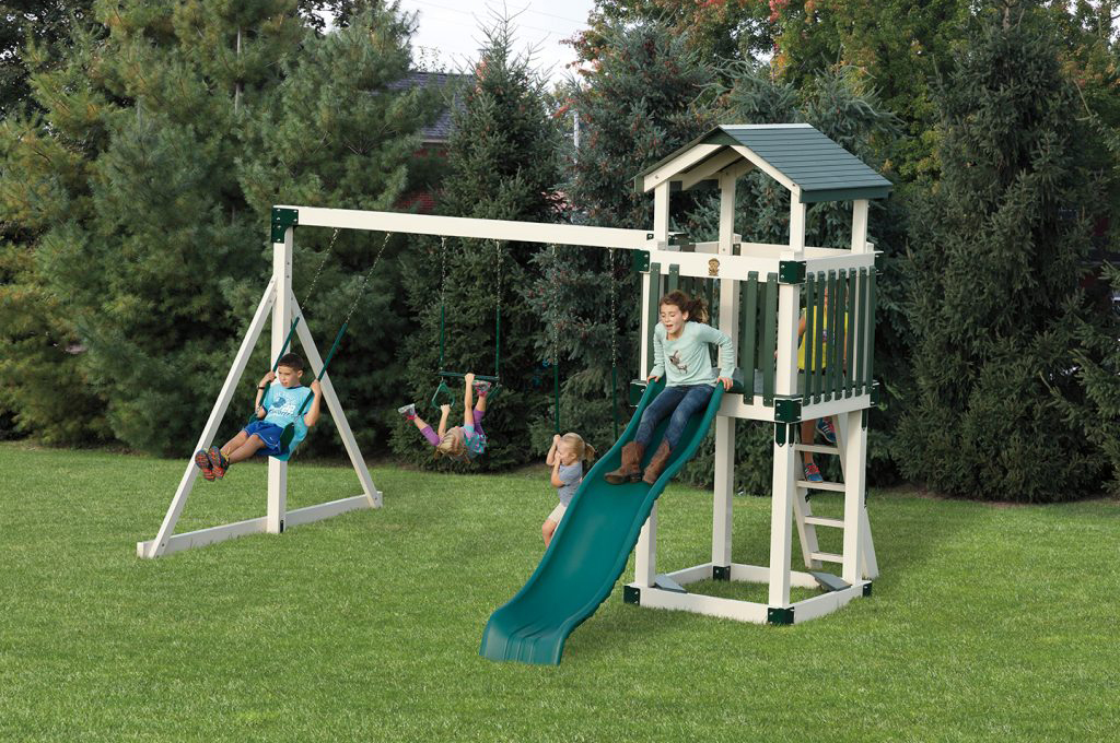 green traditional slide and swing set